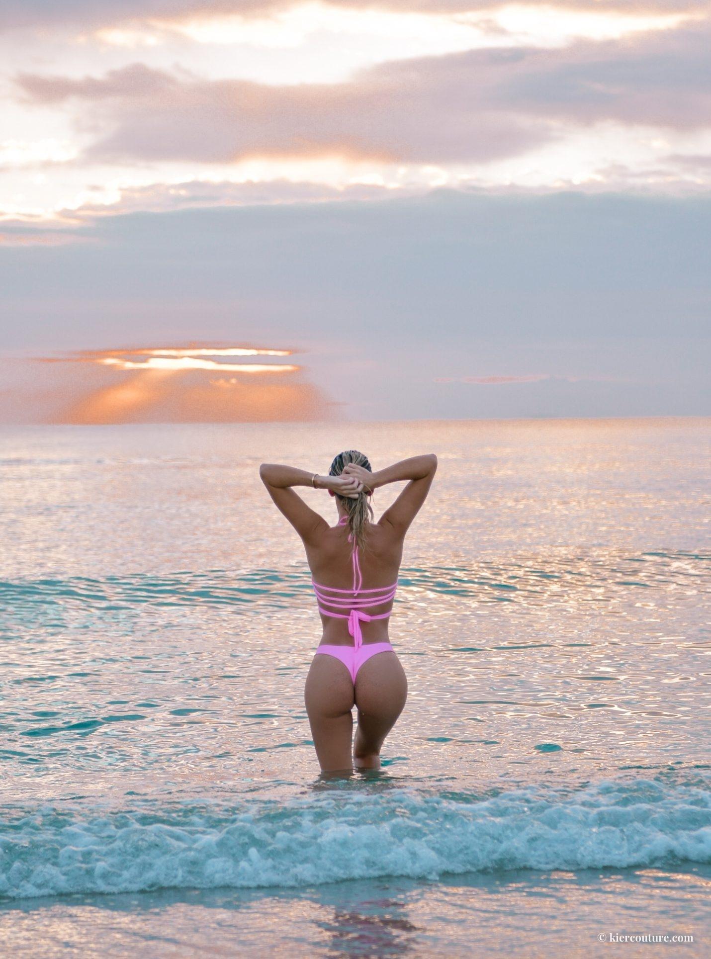 pink thong bikini