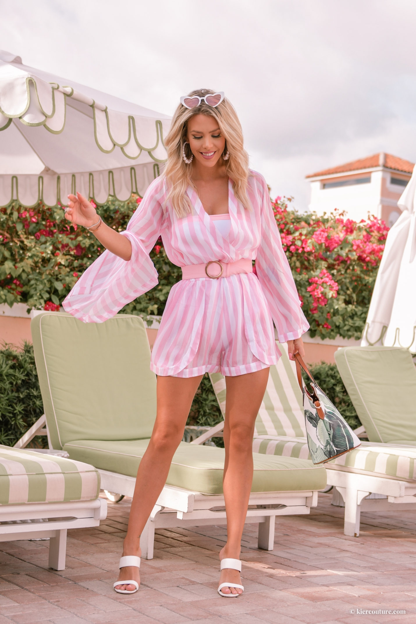 Kier Mellour in Alexandra Miro Candy Stripe Playsuit